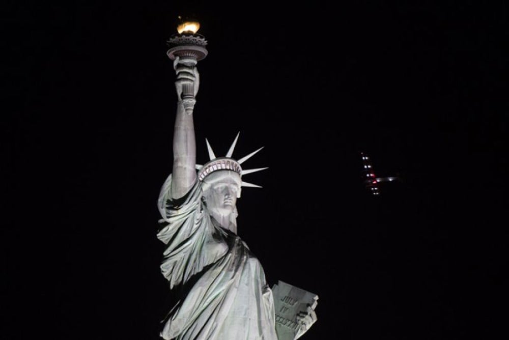 The Statue of Liberty went dark due to a suspicious power outage.