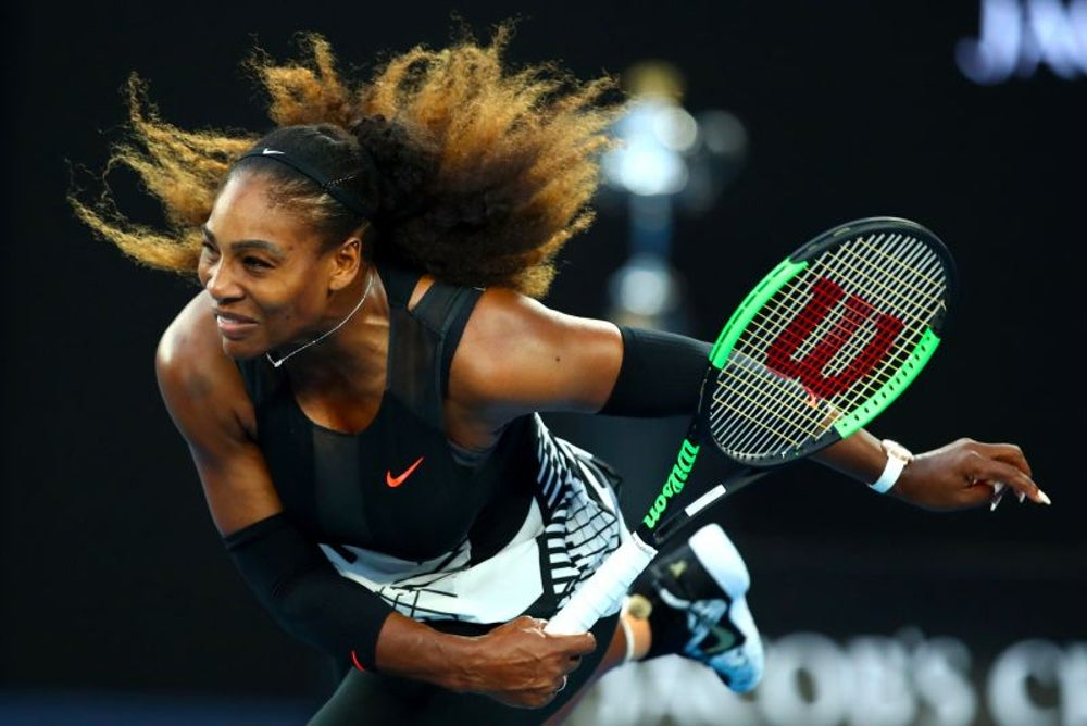 Serena Williams challenges two players to a match on a public court.