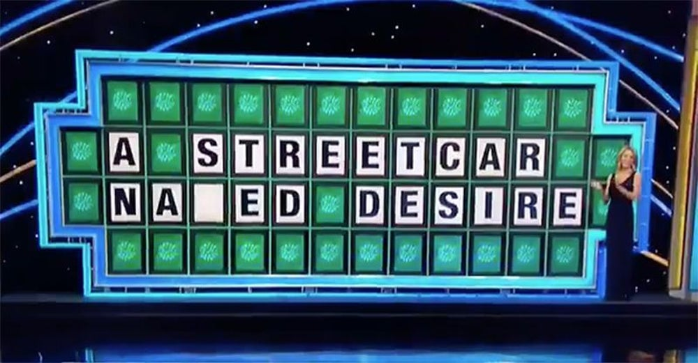 Wheel of Fortune contestant guesses the wrong letter.
