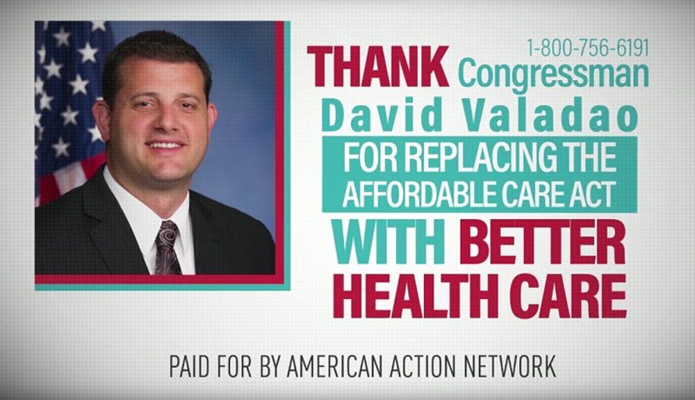 Ads run congratulating Republican leaders on now-aborted healthcare plan.