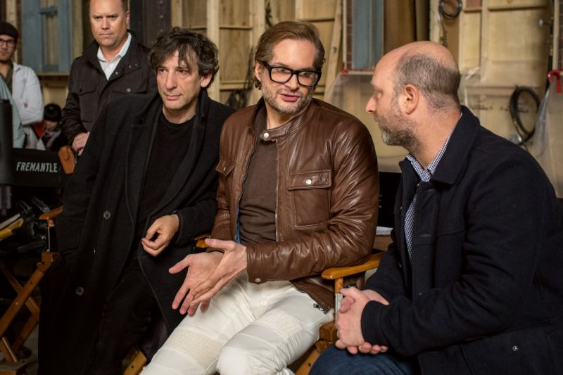 Neil Gaiman with show creators Bryan Fuller and Micheal Green