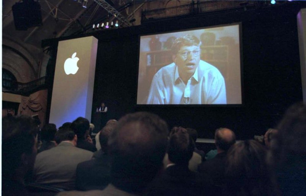 When he rescued Apple (and it became bigger than Microsoft).
