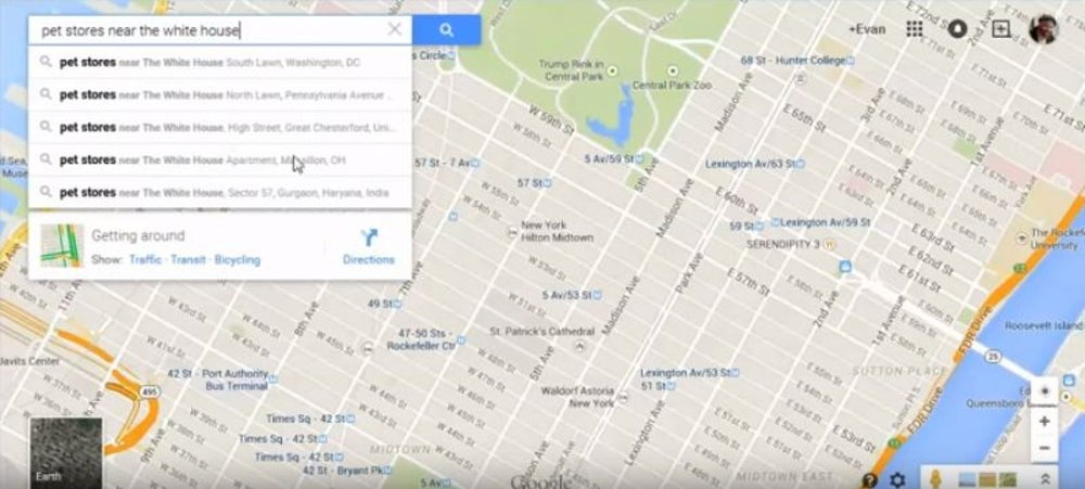 google maps directions from current location