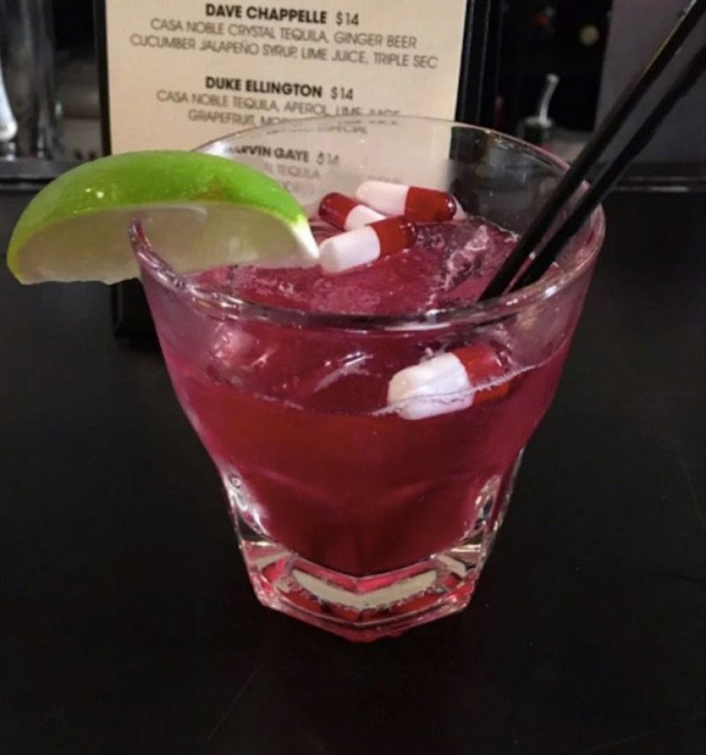 "Bar launches and removes ""Pill Cosby"" drink from menu."