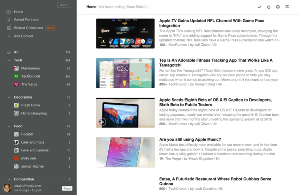 Feedly, free