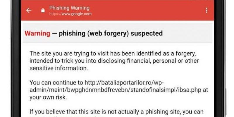 Gmail for Android prevents phishing