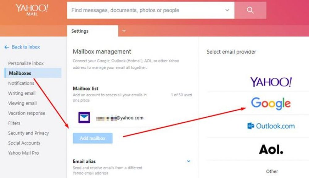 Access Gmail via Yahoo or Outlook.com