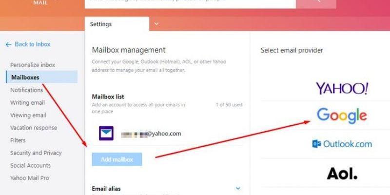 Access Gmail via Yahoo or Outlook.com