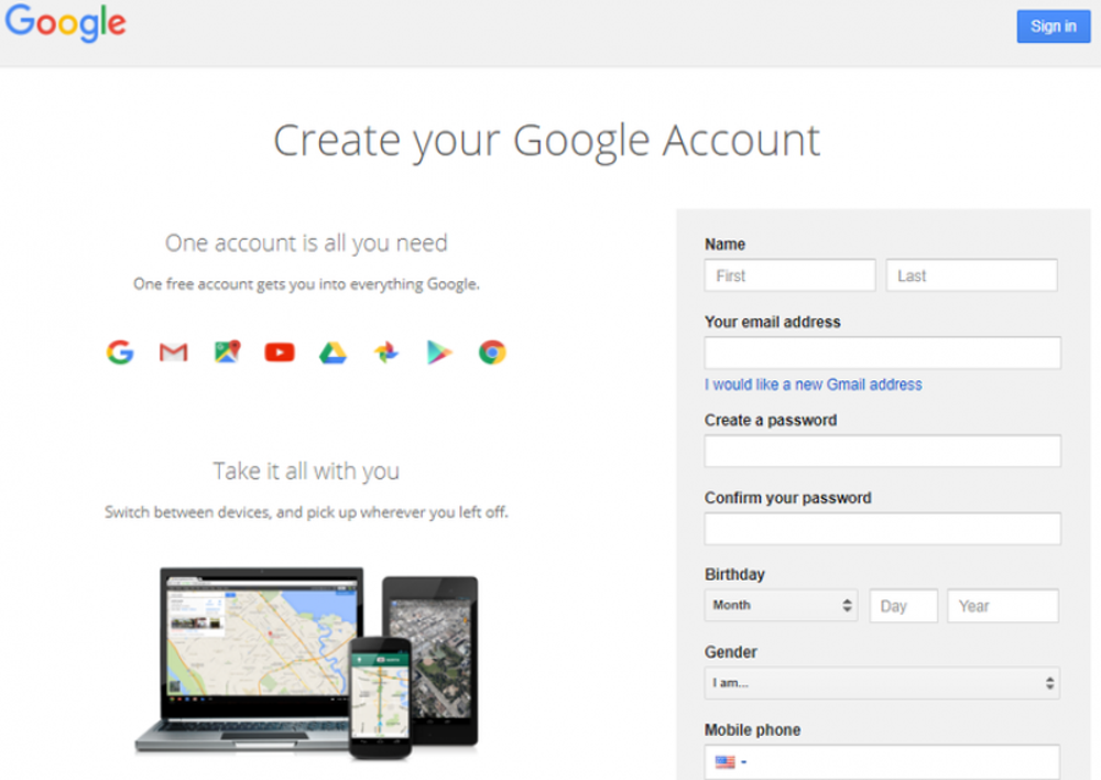 Sign up for Google sans Gmail
