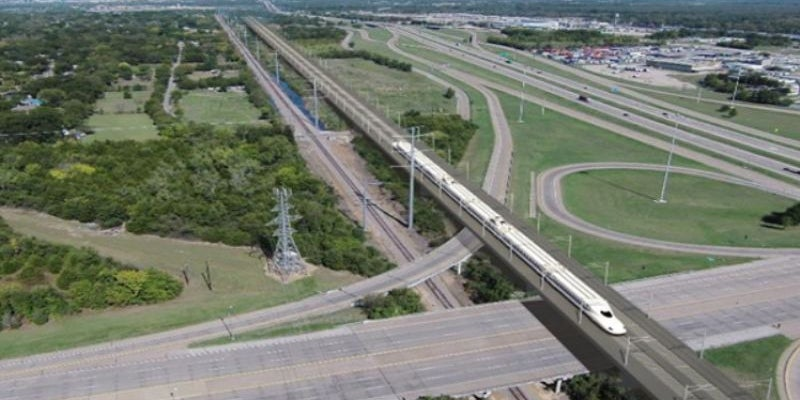 Dallas -- a development that would surround a proposed station for a $15 billion bullet train.