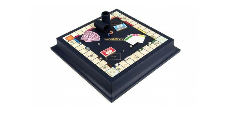 Leather gold and silver monopoly set