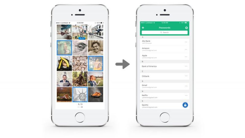 A password manager that makes you remember only pictures