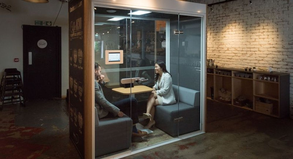 A bookable booth for meetings on demand