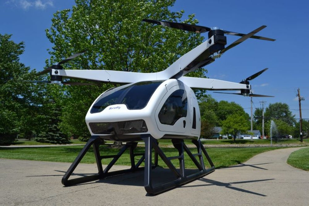 An electric-hybrid 'octocopter' drone that seats two