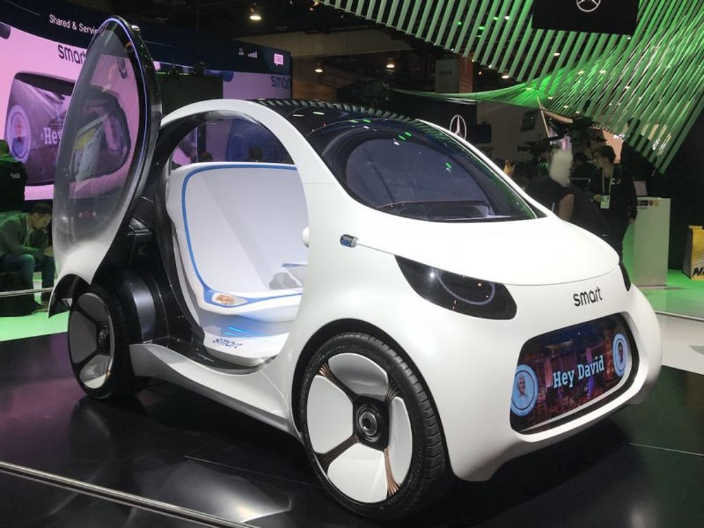 A tiny car designed for ridesharing.