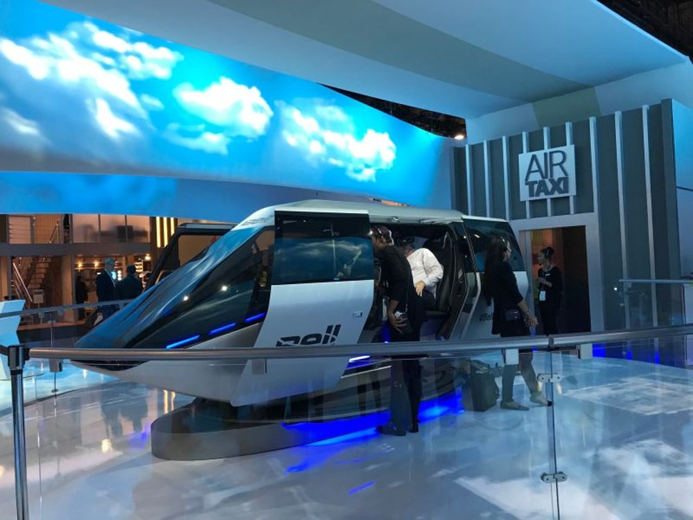 An electric flying taxi concept helicopter