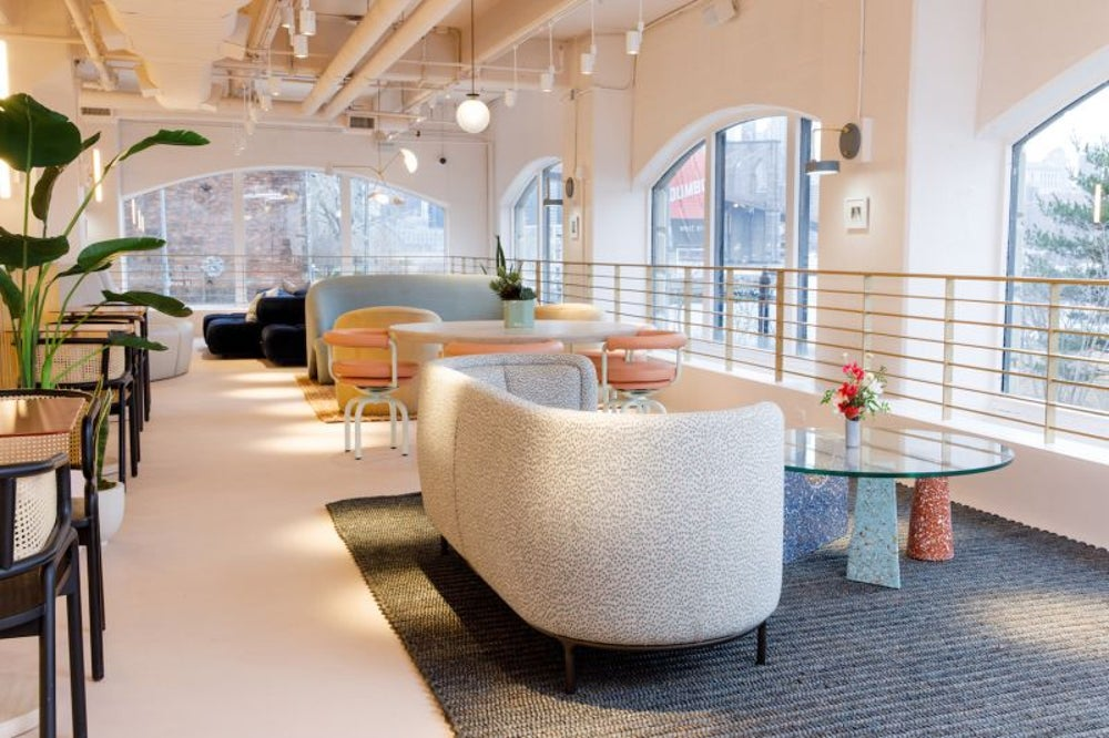 An open floor plan with flexible seating