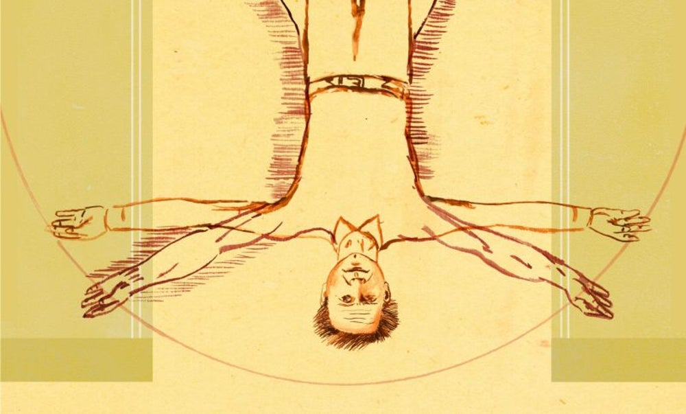 Dan Brown hangs upside down.