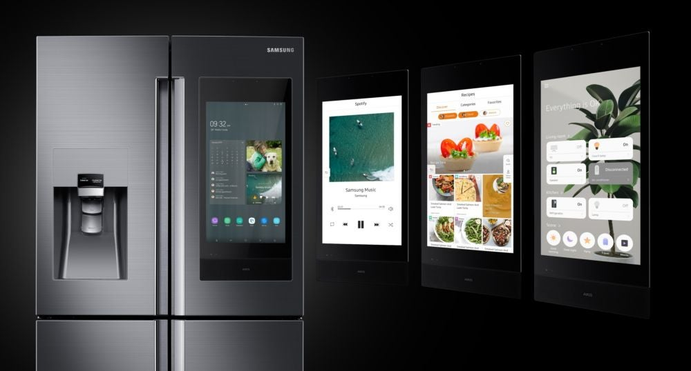 A refrigerator with a digital display for photos, notes and step-by-step recipes.