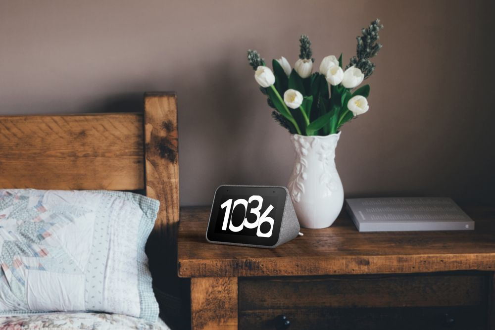 A smart clock for your nightstand with alarm, weather, commute and calendar information.