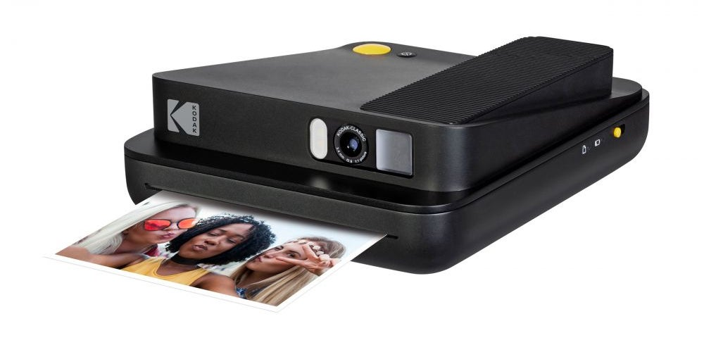 An instant camera with bluetooth connectivity.