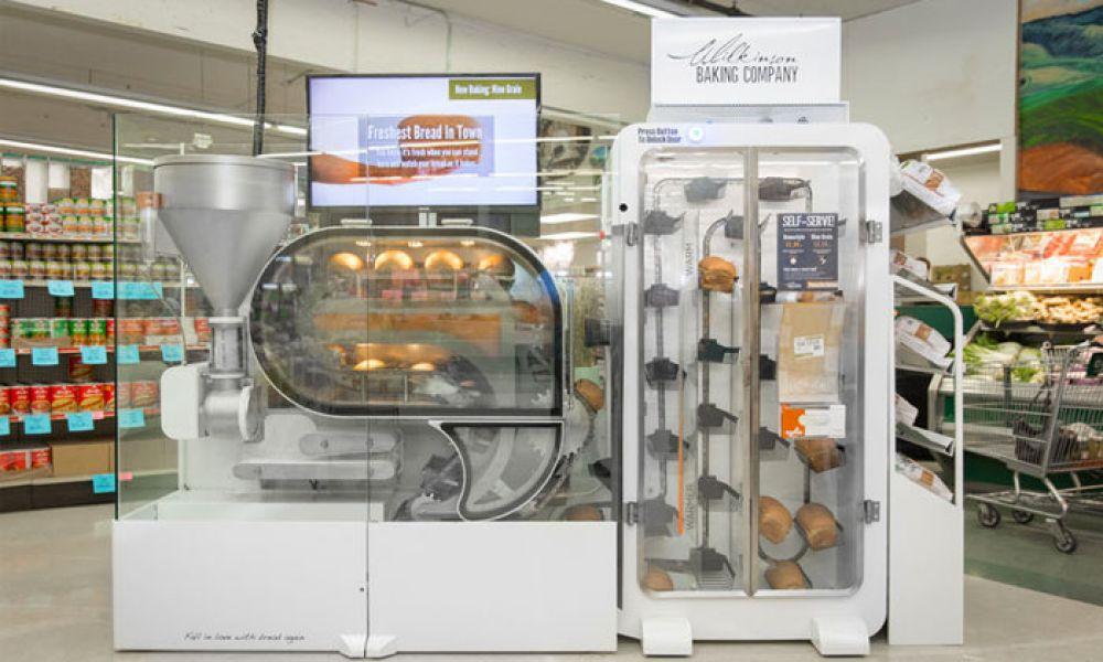 A robotic bread vending machine.