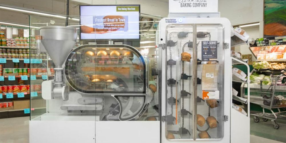 A robotic bread vending machine.