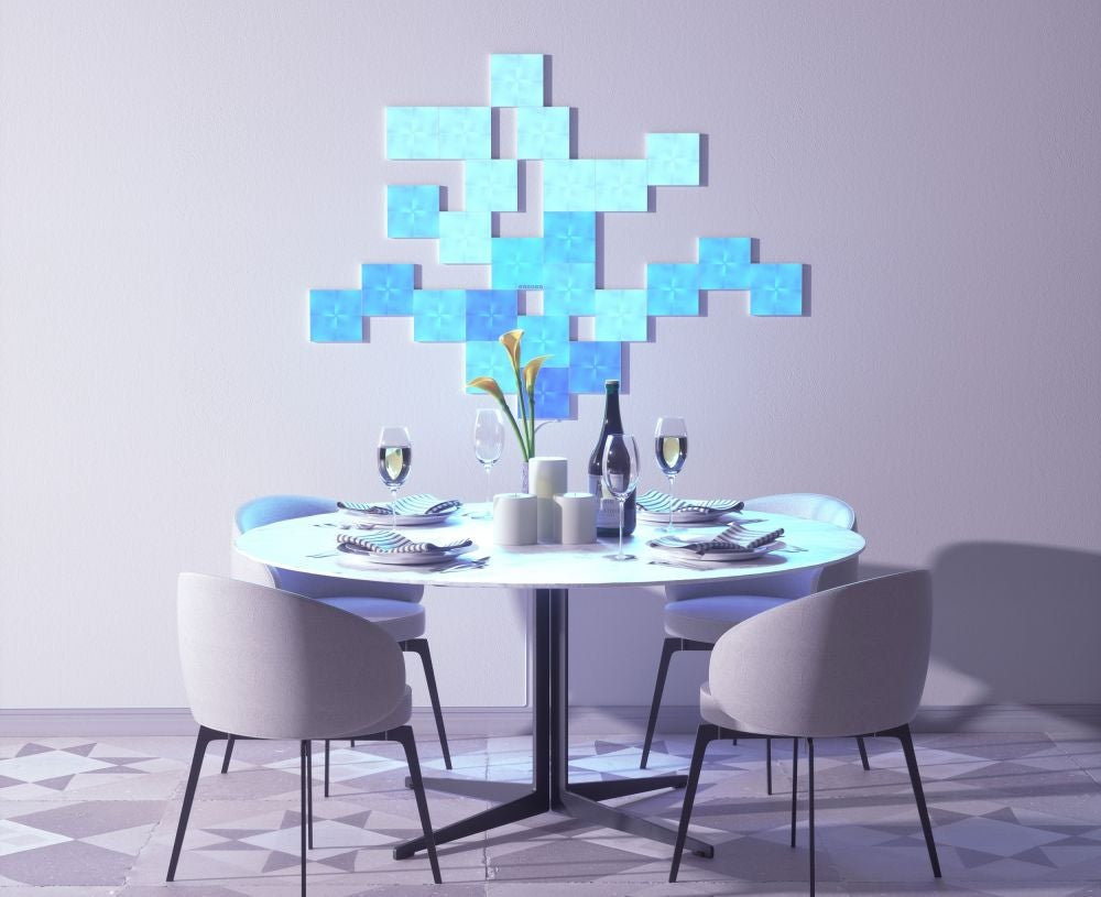 Smart light squares that decorate a space and sync with music.