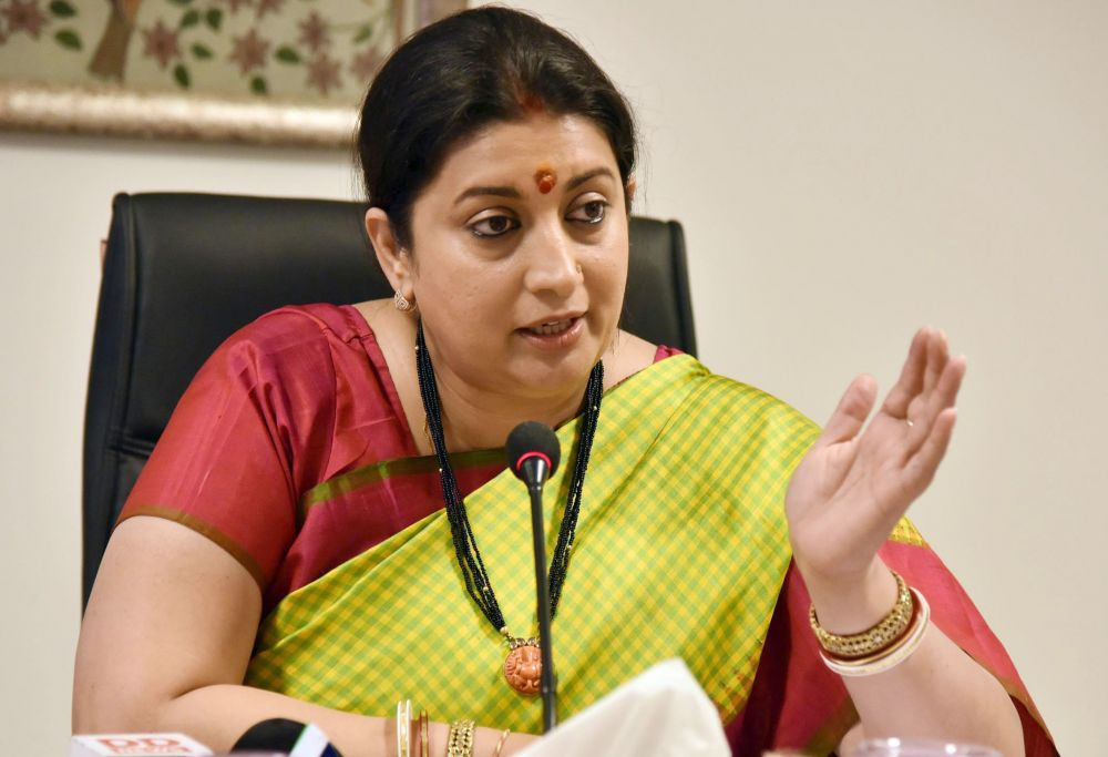 Smriti Irani - Ministry of Women and Child Development along with the Ministry of Textiles