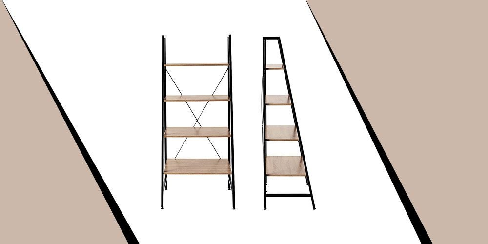 Black Steel Frame Bookcase with Wooden Shelves
