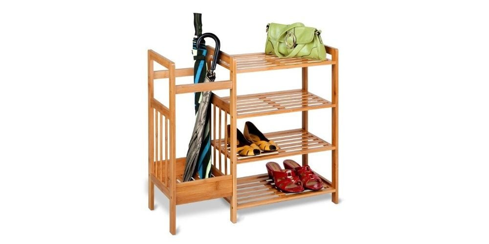 Bamboo Entryway 8 Pair Shoe Rack