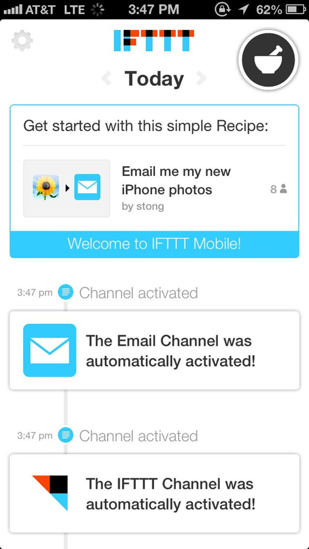 Each day, IFTTT selects specific recipes to be spotlighted in your feed. This is a great way to discover new ways that you can take advantage of the service.