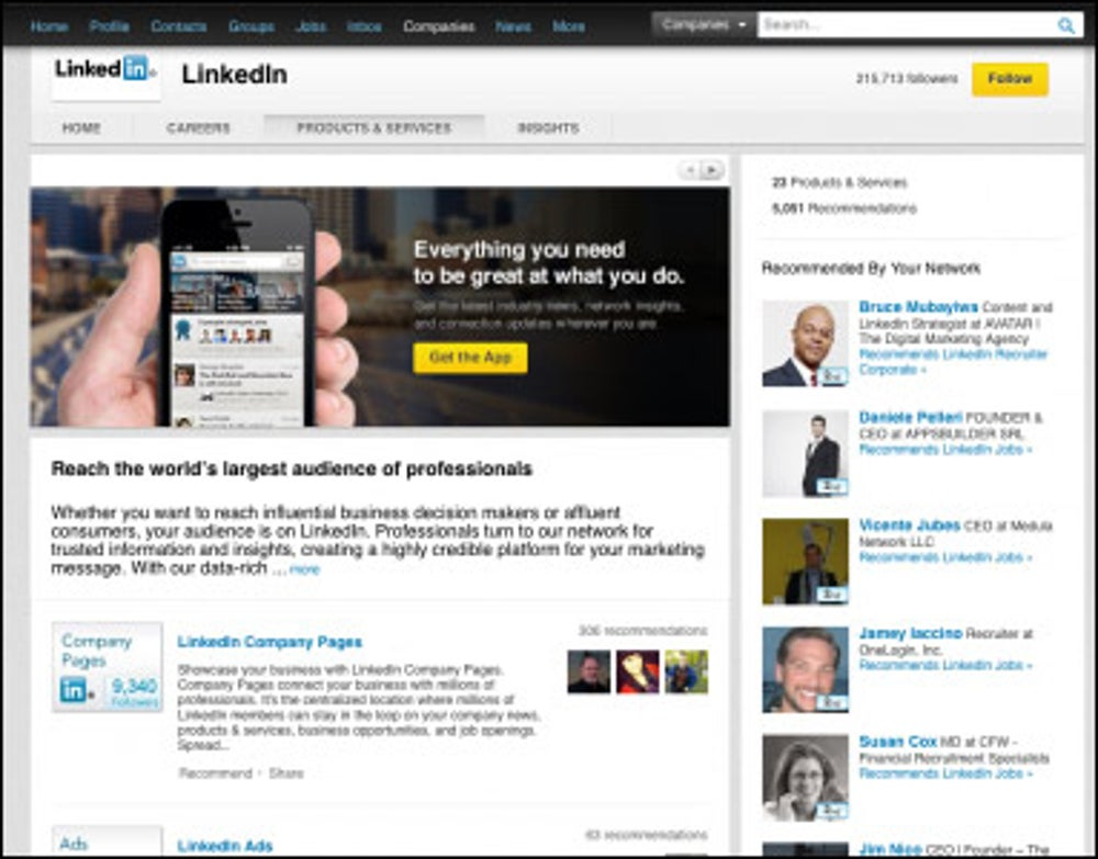 Your company has a lot of products and services, but you don't list them all on LinkedIn