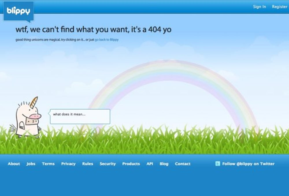 Blippy has a magical 404, but what does it mean?