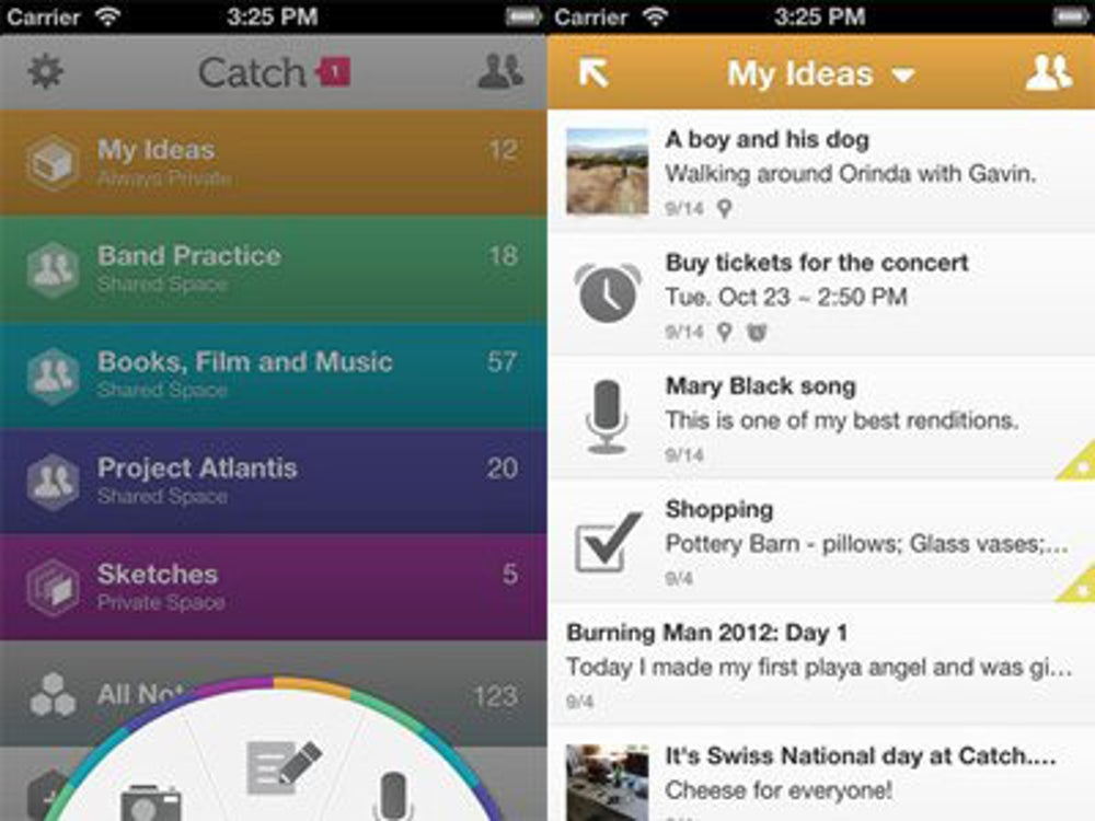 Catch is a fun way to take voice, photo and text notes.