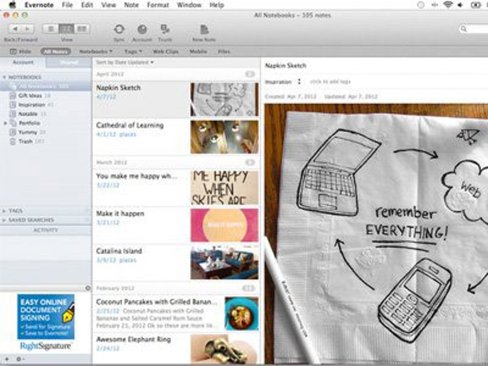 Evernote: Search scanned documents.