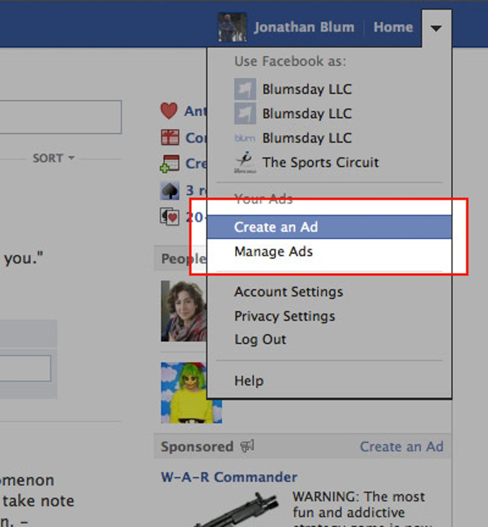 Log into your personal Facebook account.
