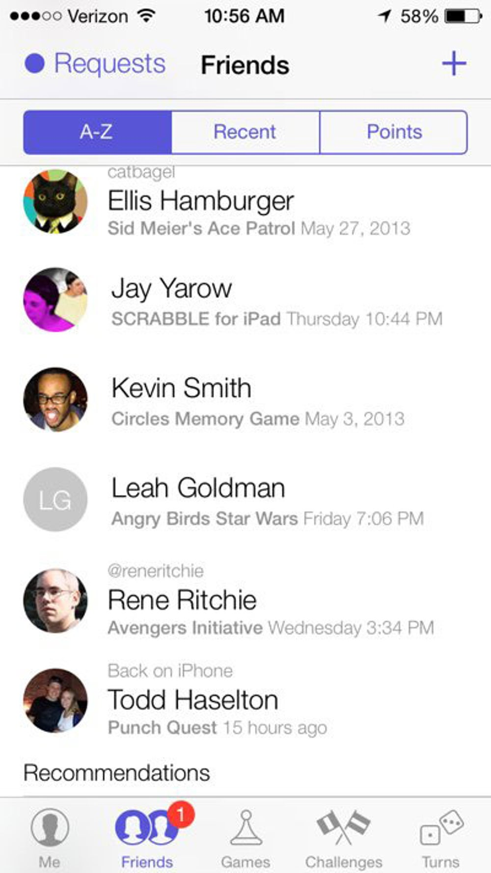 Here's what your list of Game Center friends will look like.
