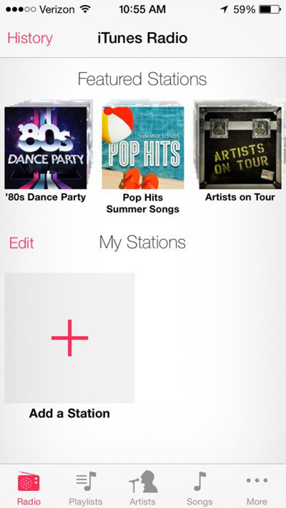 iTunes Radio is free, but supported by ads. Apple has some radio stations ready for you to listen to. Let's try the '80s station.