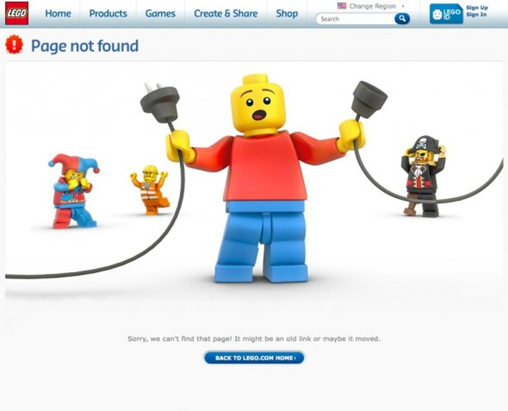 Lego has a cute 404 page.