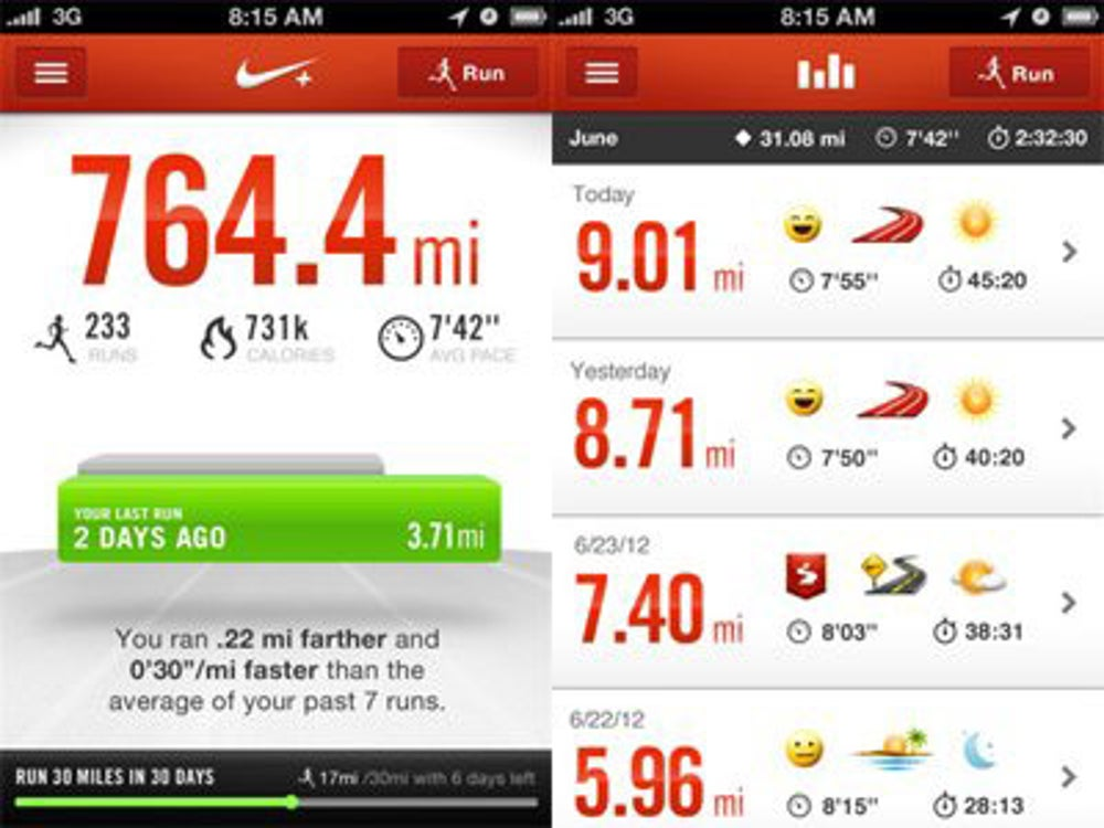 Nike+: Have a record of where you ran and how long it took you.
