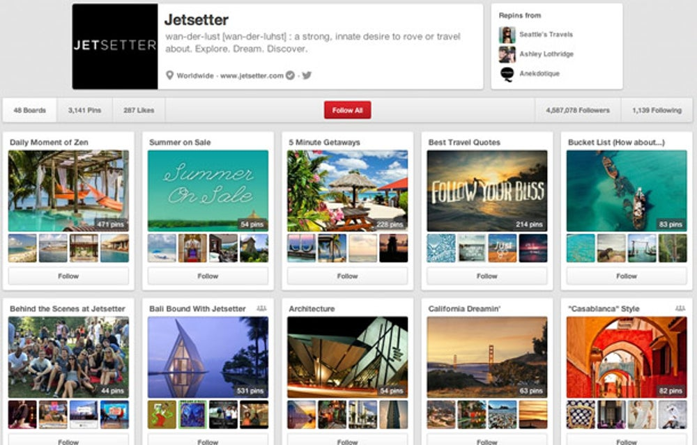 Jetsetter: populate your boards with pins
