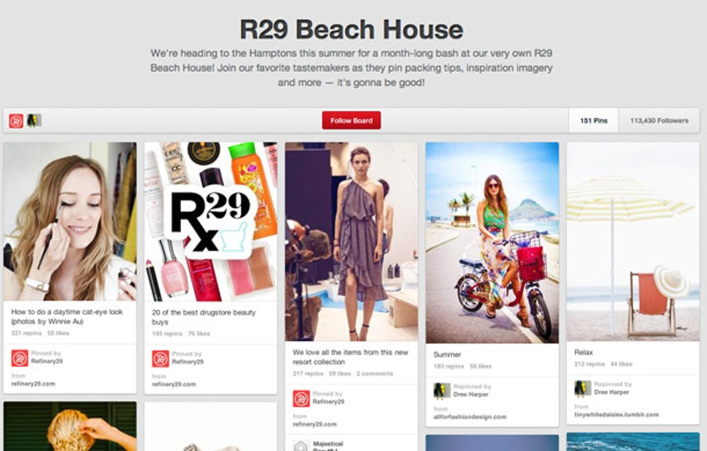 Refinery 29: integrate web content with Pinterest