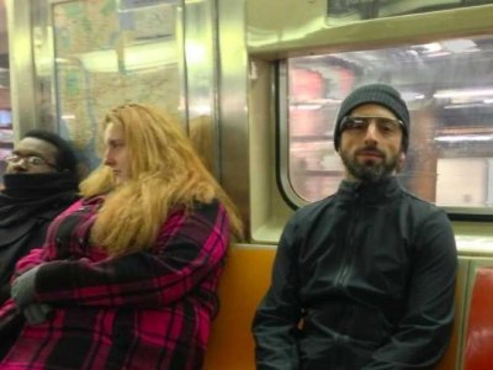 Sergey Brin shows off Google Glass on the NYC subway