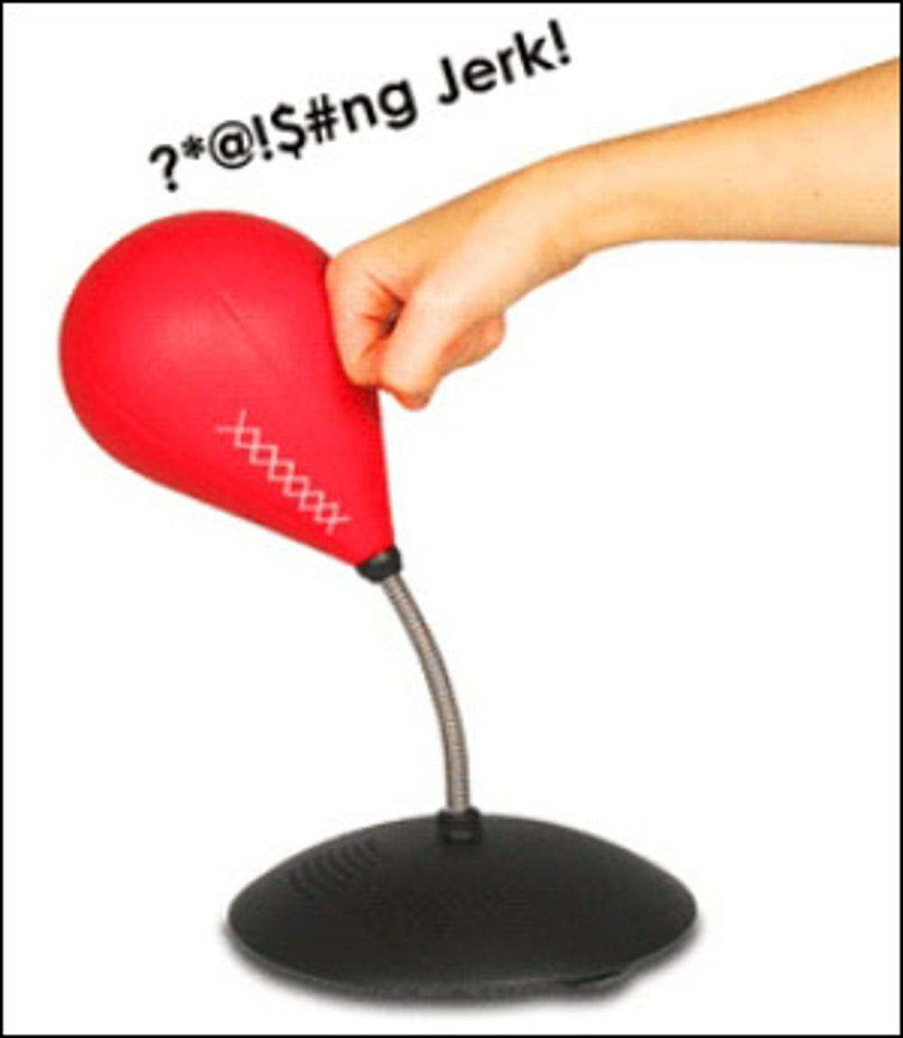 A swearing desktop punching bag