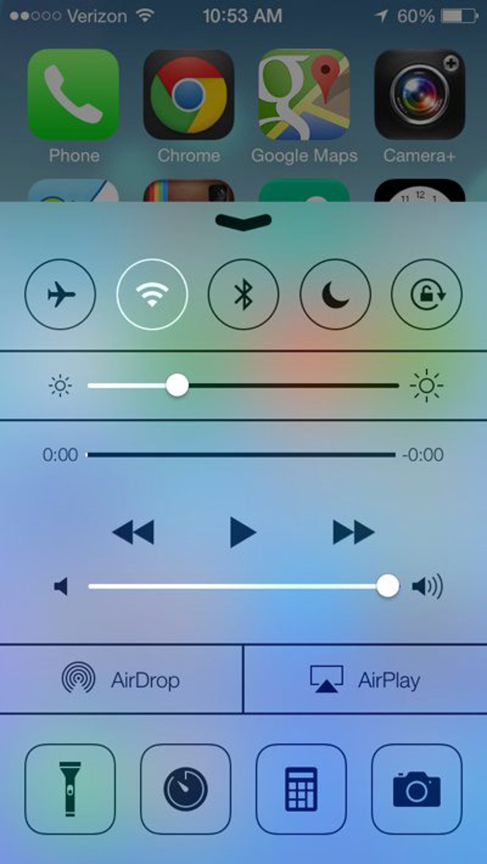 The Control Center pops up when you swipe up from the bottom of your screen. This panel lets you toggle settings for WiFi, Bluetooth, screen brightness, etc.