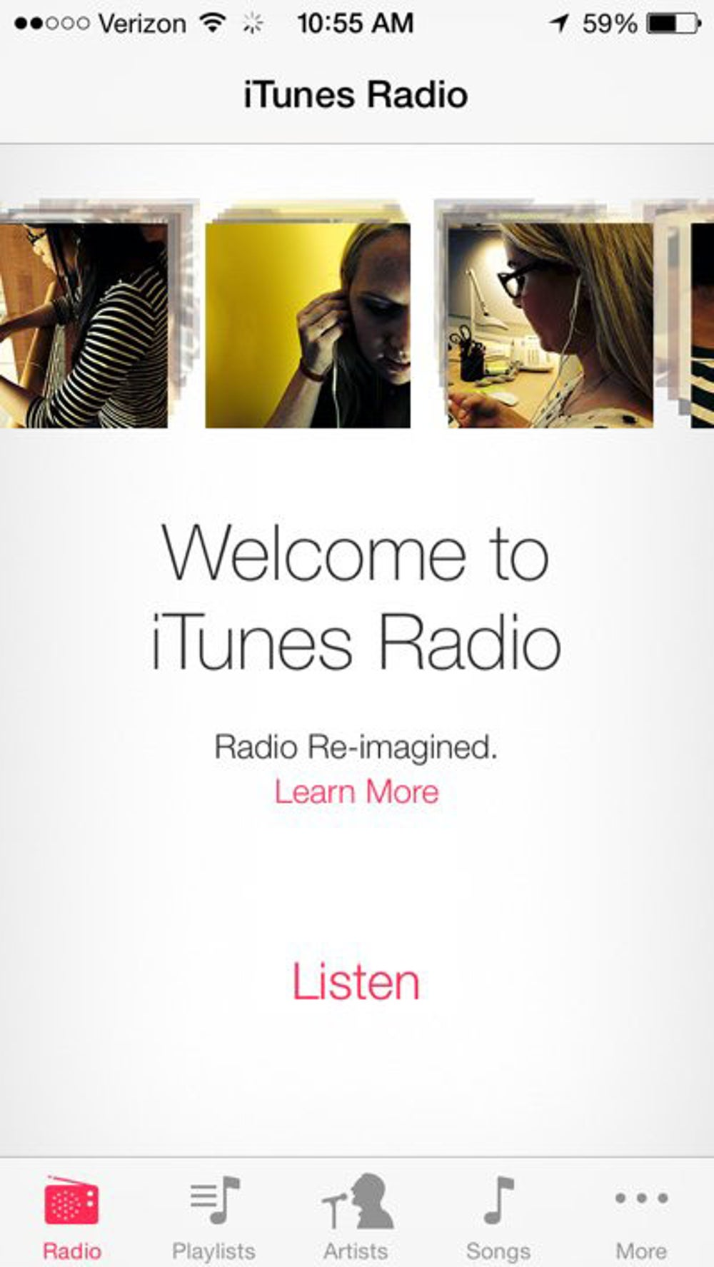 The Music app comes with Apple's new Pandora-like radio service, iTunes Radio.