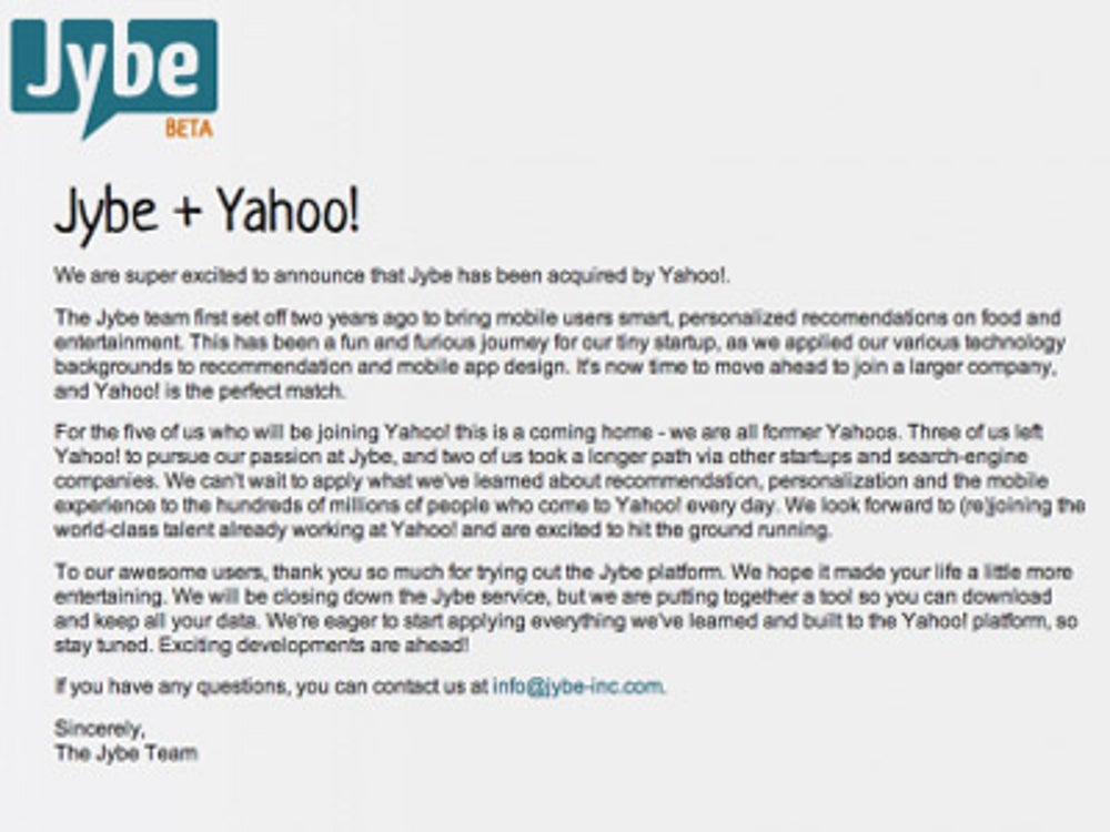 Next, it bought Jybe, a startup by former Yahoos.