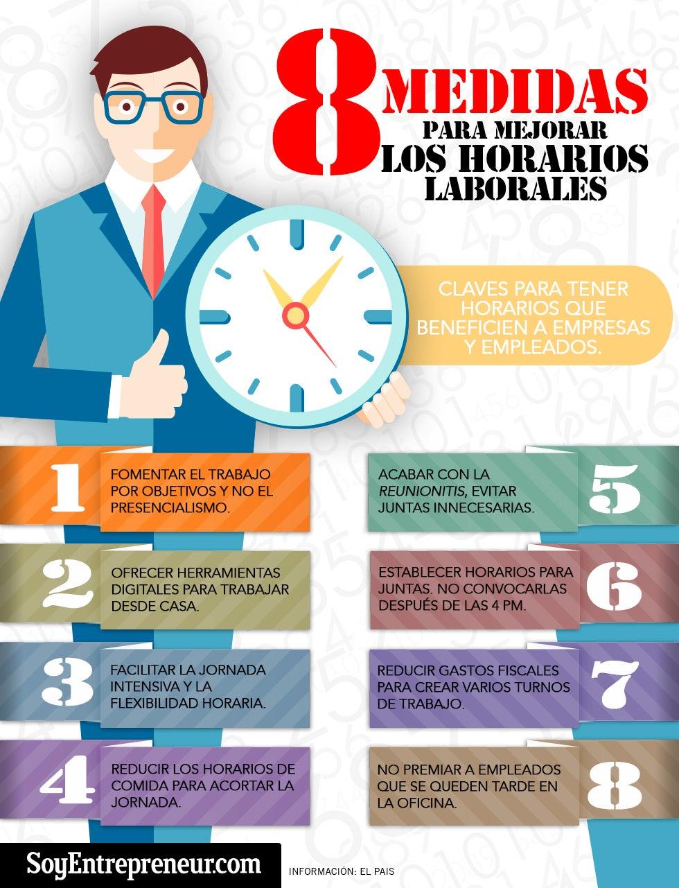 Infograf a 8 consejos para mejorar los horarios laborales for Horario oficina adeslas