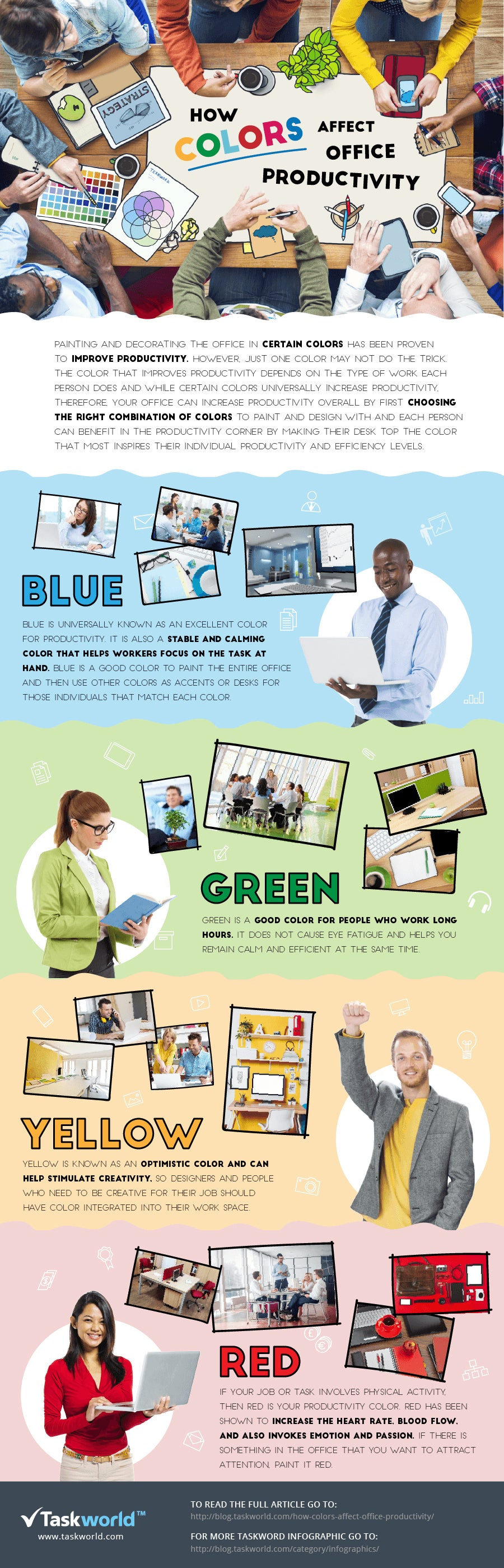 Colours And Their Moods the color of your office impacts productivity (infographic)